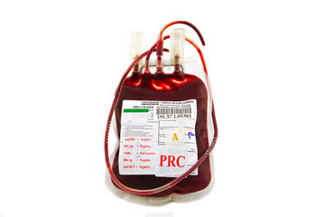 bag of blood and plasma isolated on white background