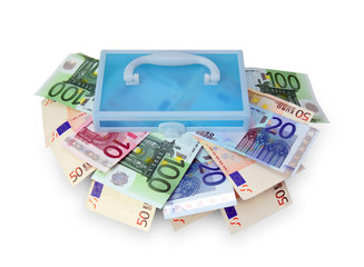 Plastic box with euro banknotes.