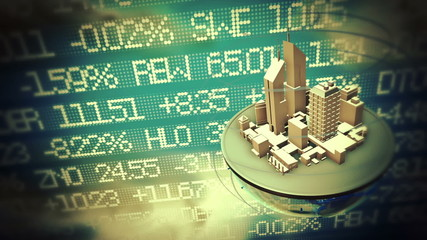 Urban world at stock market background
