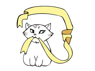 gatto con nastro colorato