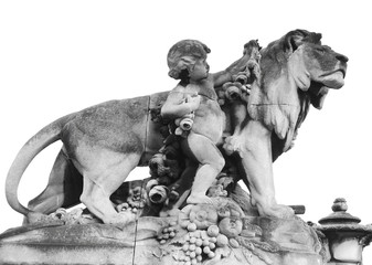 Depiction of a boy and lion isolated on white, Paris, France