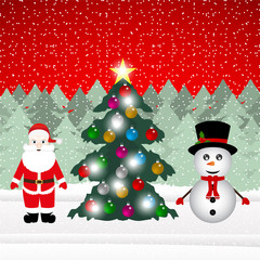 Snowman and Santa Claus with Christmas tree in the forest