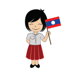 Cartoon girl student ASEAN Laos.