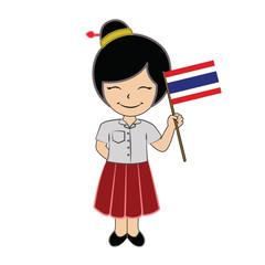 Cartoon girl student ASEAN Thailand.