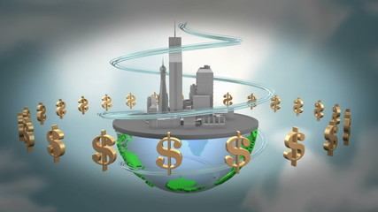 Urban world with dollars. loop animation.