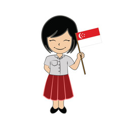Cartoon girl student ASEAN Singapore.
