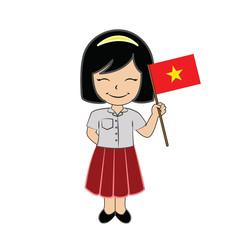 Cartoon girl student ASEAN Vietnam.
