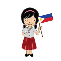 Cartoon girl student ASEAN Philippines.