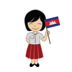 Cartoon girl student ASEAN Cambodia.