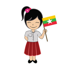 Cartoon girl student ASEAN Myanmar.