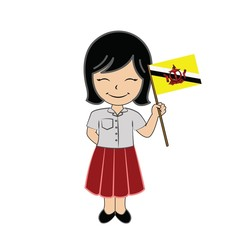 Cartoon girl student ASEAN Brunei Darussalam.