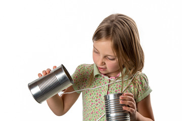 Girl with Tin Can / String Phone - Expressing Skepticism