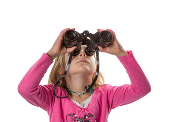 Girl with Binoculars Looking Up