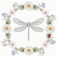 floral frame and dragonfly vintage engraving style