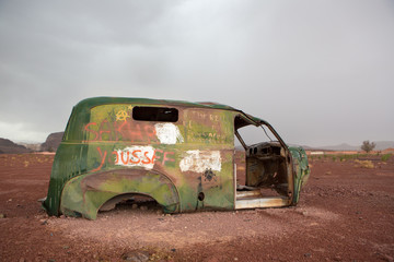Old vintage and rusted car wreck, Morocco