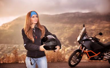 Beautiful biker girl