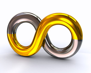 Silver and golden infinity symbol