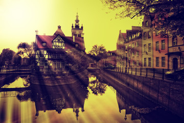 Old town with vintage effect in Gdansk, Poland.