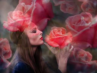 Double exposure portrait of beautiful lady and red roses