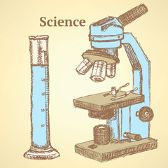 Sketch scientific set in vintage style