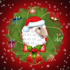 новогодний баран-Санта Клаус в елочном венке
