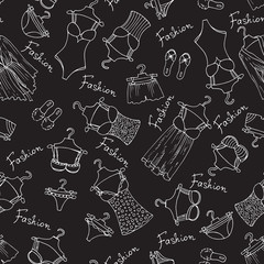Vector pattern with lingerie on black background