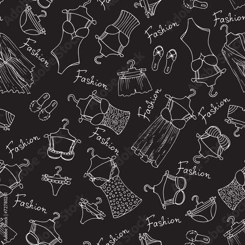Vector pattern with lingerie on black background - 72780261
