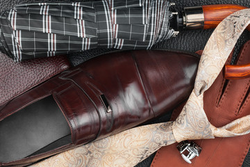 Classic mens shoes, tie, cufflinks, gloves,umbrella, purse on na