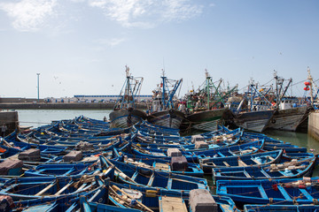 Blue fishing boats in the harbor of Essaouira