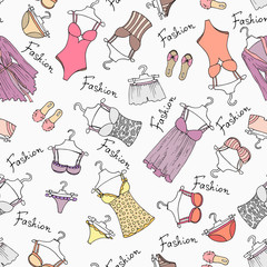 Vector seamless pattern with hand drawn lingerie