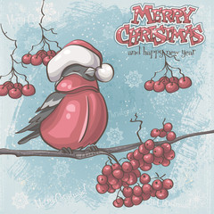 Greeting card for Christmas and New Year depicting bullfinches