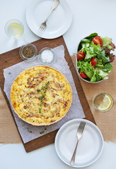 Lunch quiche tart overhead