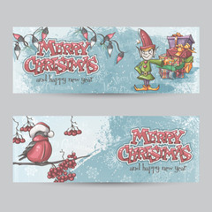 Set of horizontal banners for Christmas and the new year