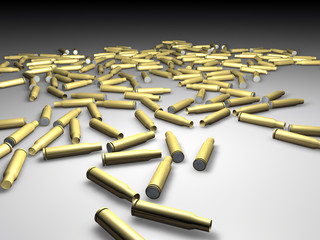 Bulk of blank rifle bullets - 3d rendering