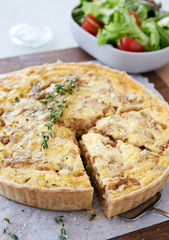 Simple light lunch of pastry pie quiche