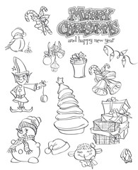 Set of Christmas and New Year festive items and characters