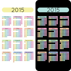 Calendar for 2015 vector two in one