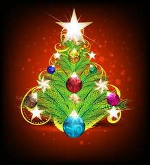 merry christmas tree background with floral