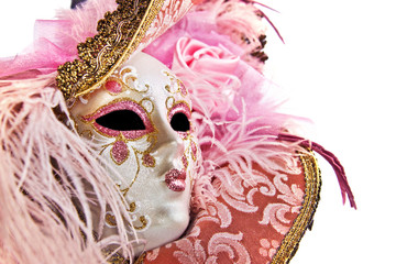 Close up of a pink woman venetian mask