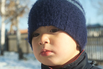 Boy portrait in winter