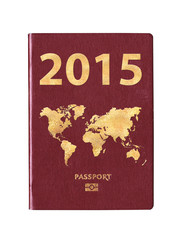 Passport 2015 with a world map on the cover