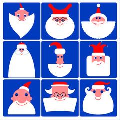 Santa Claus vector icon set