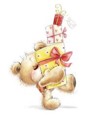 Teddy bear with the gifts.Birthday greeting card.Happy Birthday.