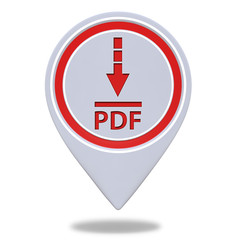 Pdf download pointer icon on white background