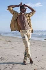 Fashion guy on beach