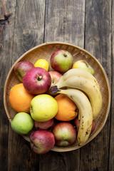 wicker basket full of various fruits