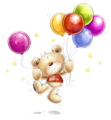 Teddy bear with colorful balloons and stars.Happy Birthday