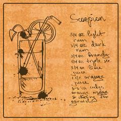 Hand drawn Scorpion cocktail