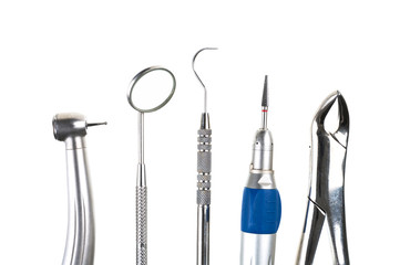 Dental tools isolated on white background