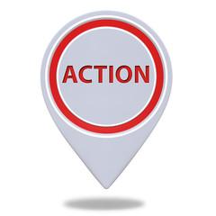 Action pointer icon on white background